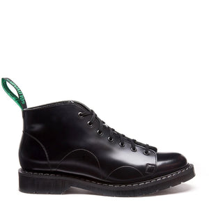 Solovair Black Hi-Shine Monkey Boots Made in England
