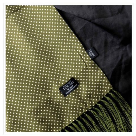Tootal Green Silk Polka Dot Scarf