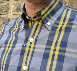 Relco Grey & Yellow Check Short Sleeve Shirt