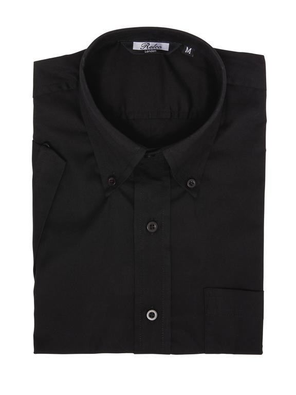 Relco Black Short Sleeve Oxford Shirt