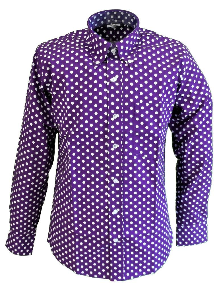 Relco Purple Checked Short Sleeved Button Down Shirts