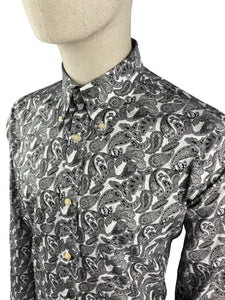 Ska & Soul Spear-point Paisley Button-Down Grey