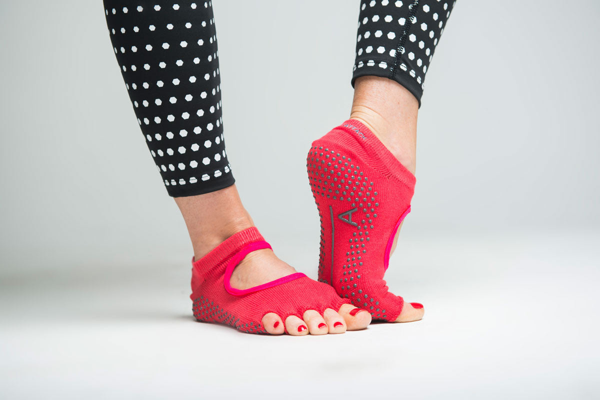 Grippy Socks - Half Toe - Fuchsia