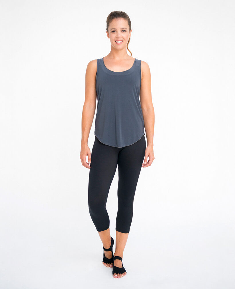 Luxe Skinny Racer Back Singlet Charcoal