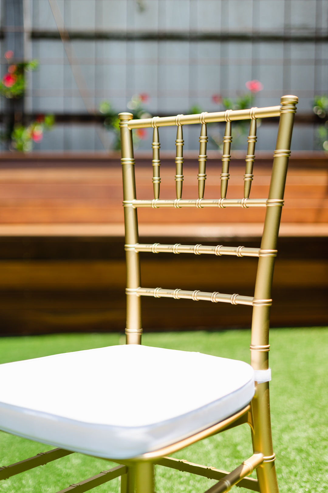 Gold Tiffany Chair | Gold Chiavari Chair | Resin with White Cushion