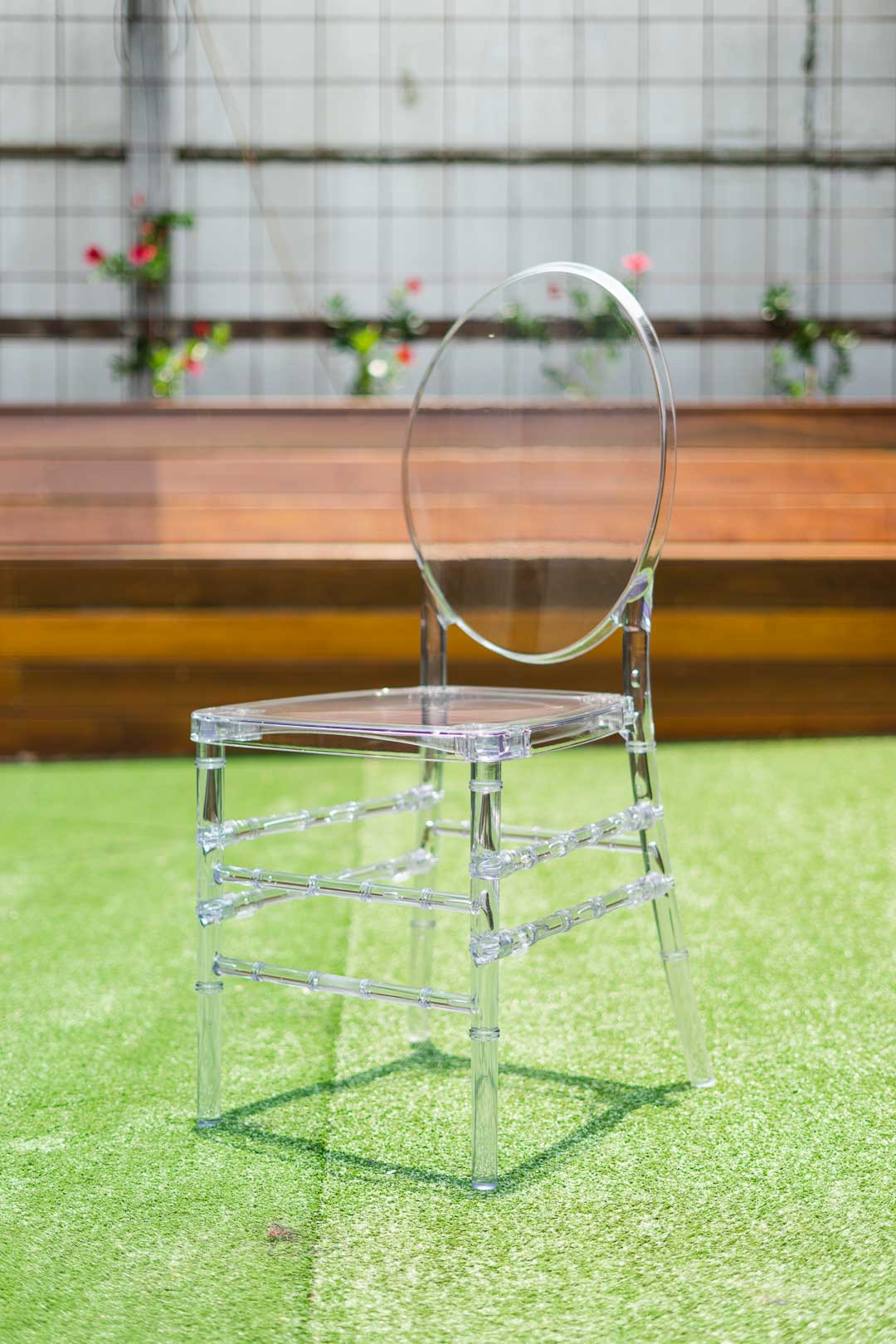 Clear ghost chair with Tiffany legs