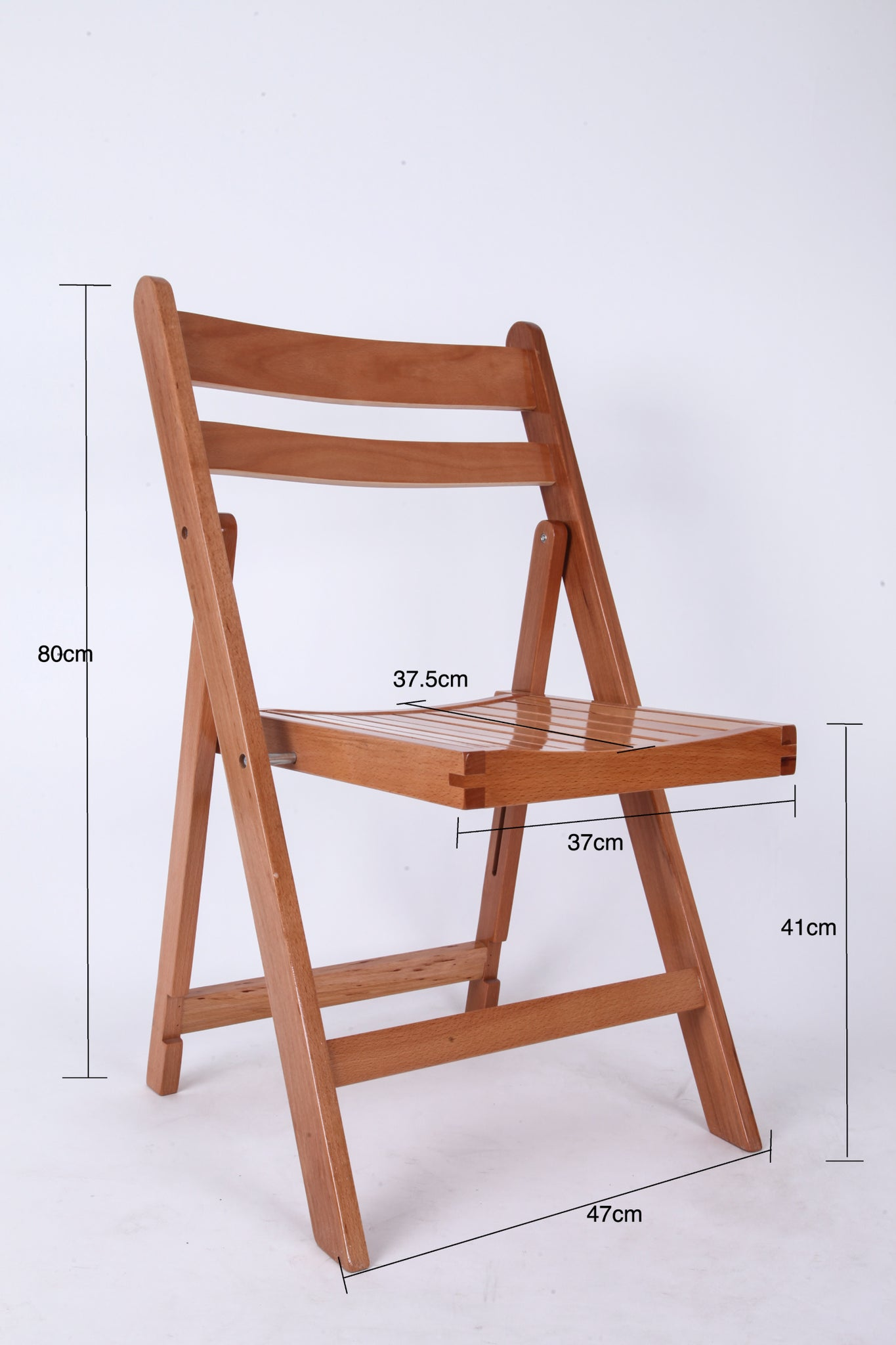 Timber Folding Chairs - Natural Slatted Seat