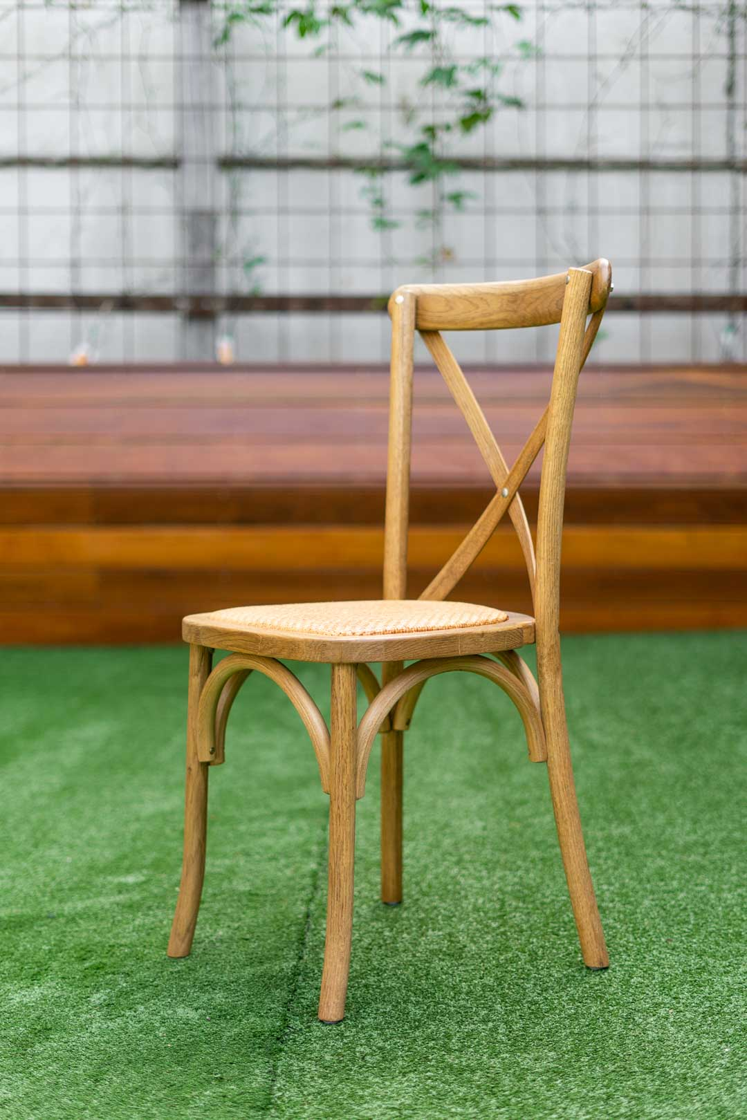 Bentwood cross back chair with rattan seat