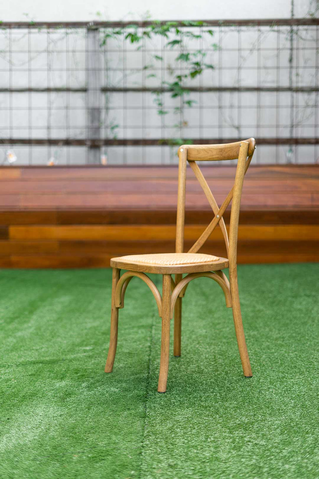 Bentwood natural cross back chair with rattan seat