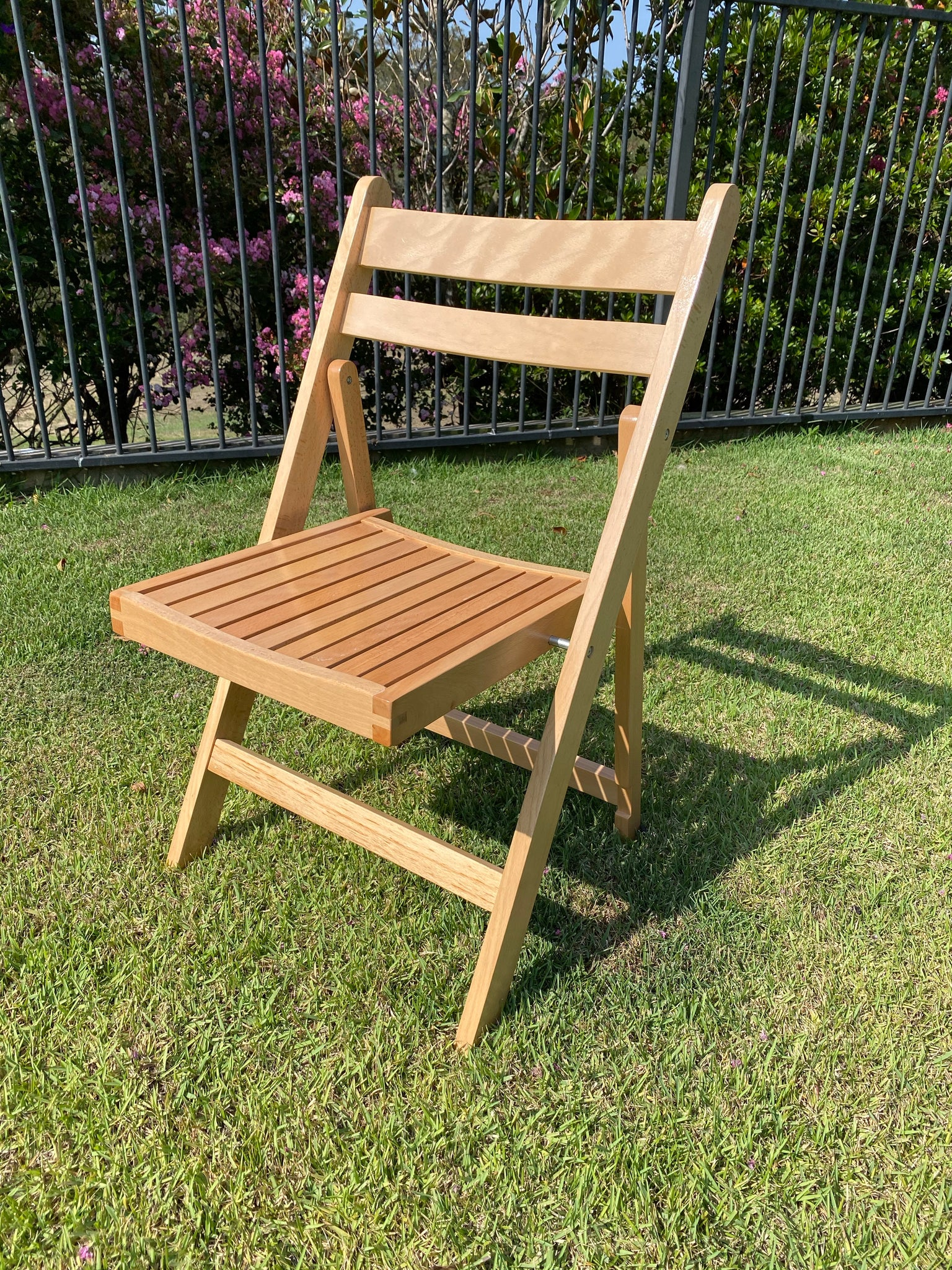 Slatted Americana Chairs - Natural Timber