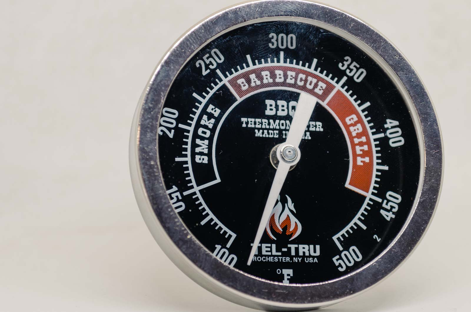 "Tel-Tru 2.5"" Stem BQ300 BBQ Thermometer RED/BLACK"
