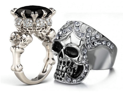Four Skull Round Cut Created Black Diamond Skull Ring