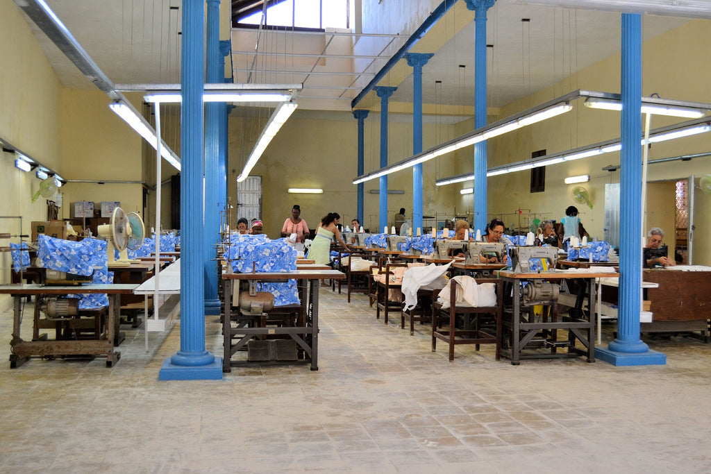 A clothing factory in Havana, Cuba. Most Merino wool clothing is produced in Asia.