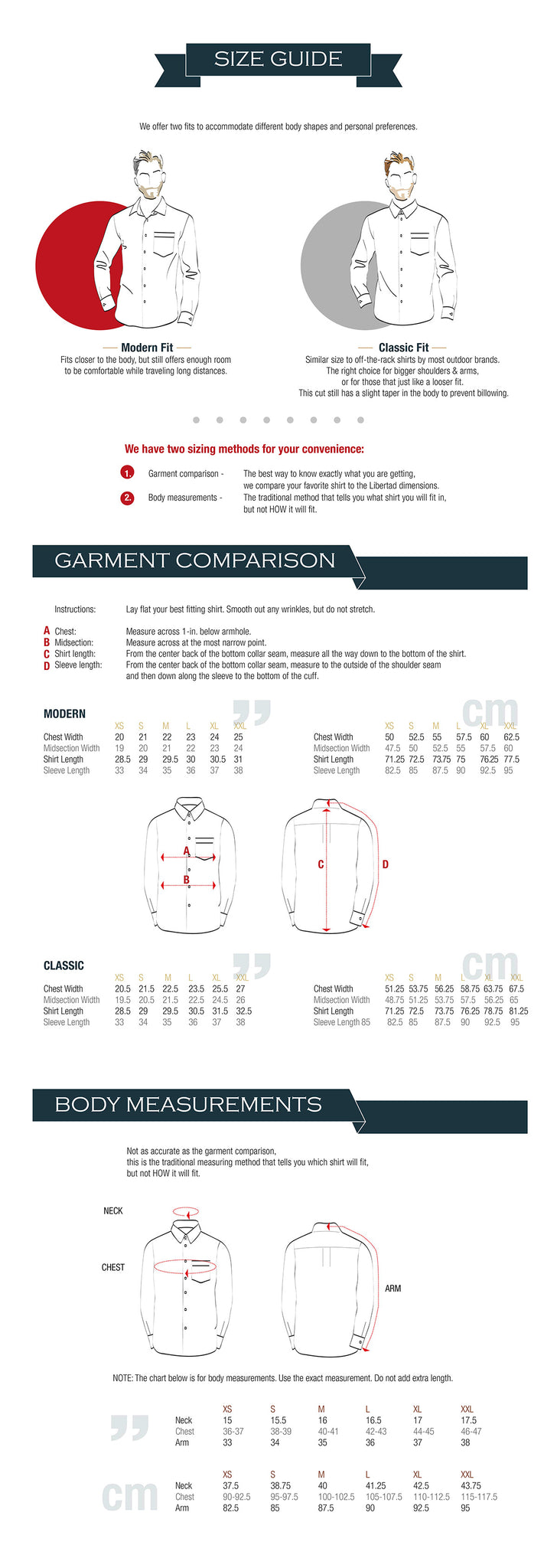 No Pocket 100% Merino Wool Travel Shirt Size Chart