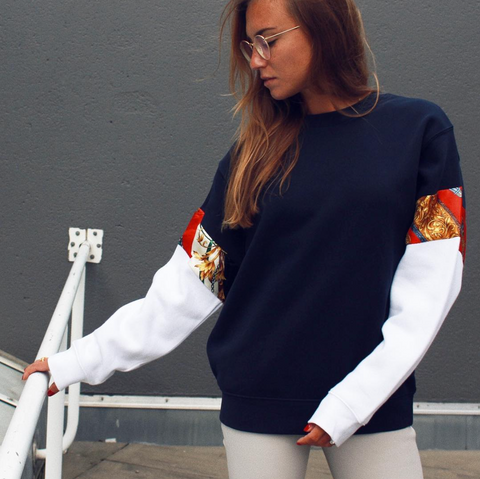 Sweater Vintage Sleeve NAVY - WHITE