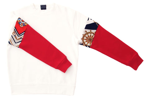 Sweater Vintage Sleeve WHITE - RED
