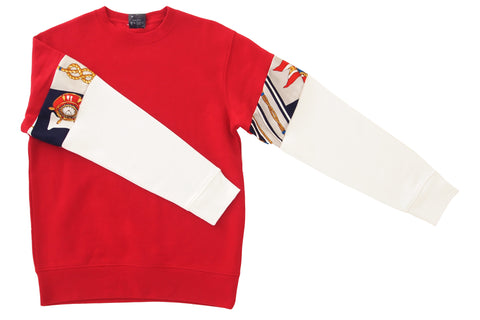 Sweater Vintage Sleeve RED - WHITE