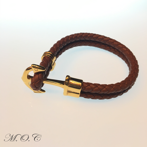 Ancora Brown Leather Bracelet
