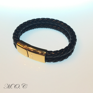 Due Black Leather Bracelet
