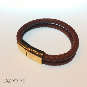 Due Brown Leather Bracelet