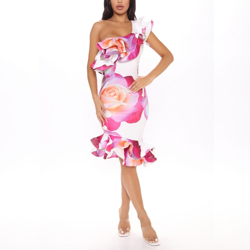 Pretty Petunia One Shoulder Midi Dress