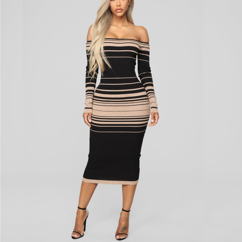 Stripe Me A Sweater Dress Black