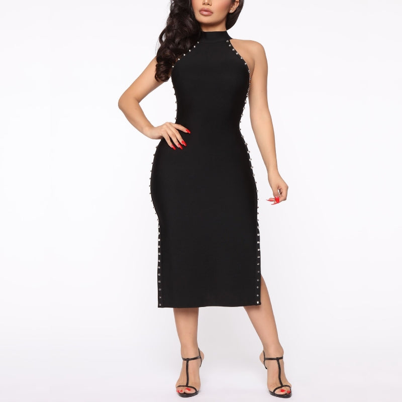 Stud Detailed Black Midi Dress