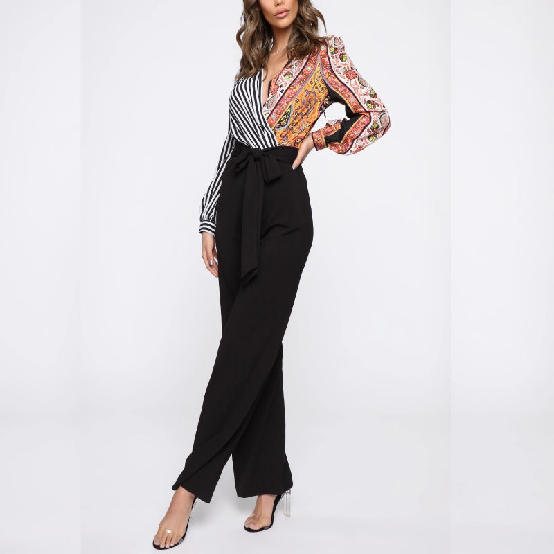 Paisley Twist Jumpsuit Black