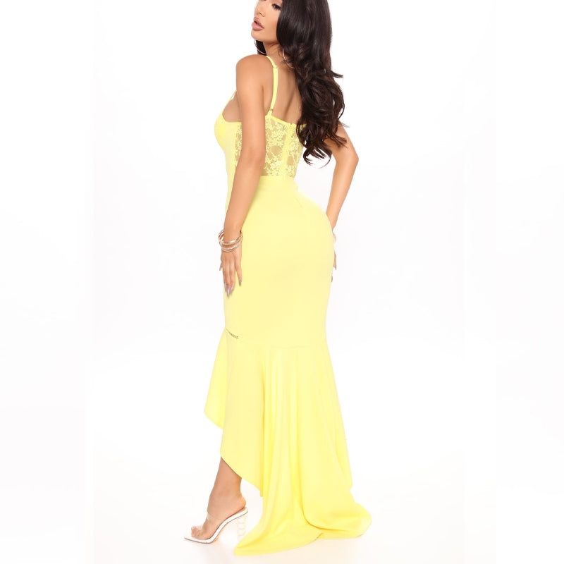 Tall & Tiered Yellow Mermaid Dress