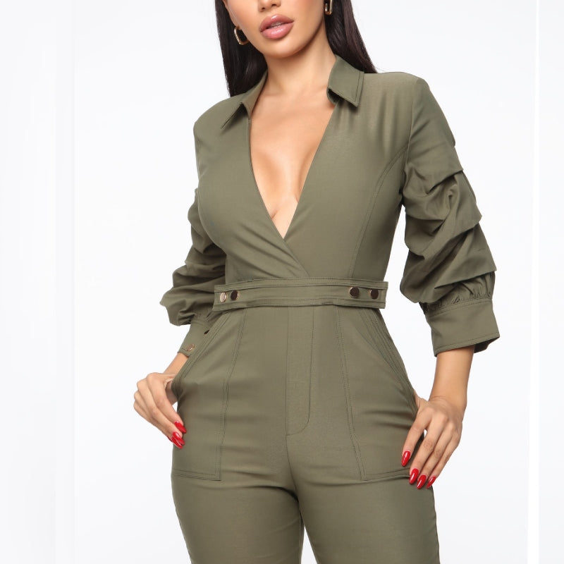 Safari Chic Fitted Jumpsuit Olive