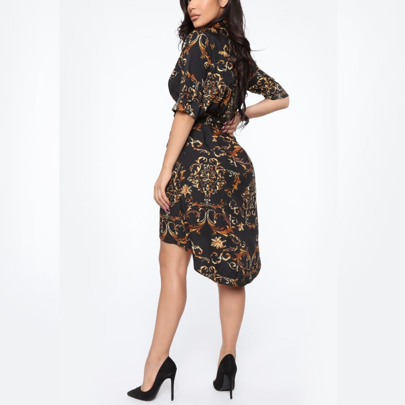 Abstract Print Shirt Dress Black