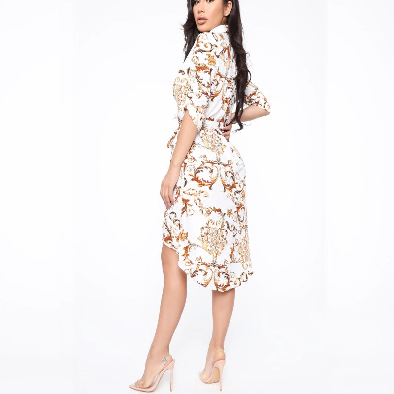 Abstract Print Shirt Dress White