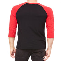 Unisex 3/4 Sleeve Baseball Tee - Black & Red