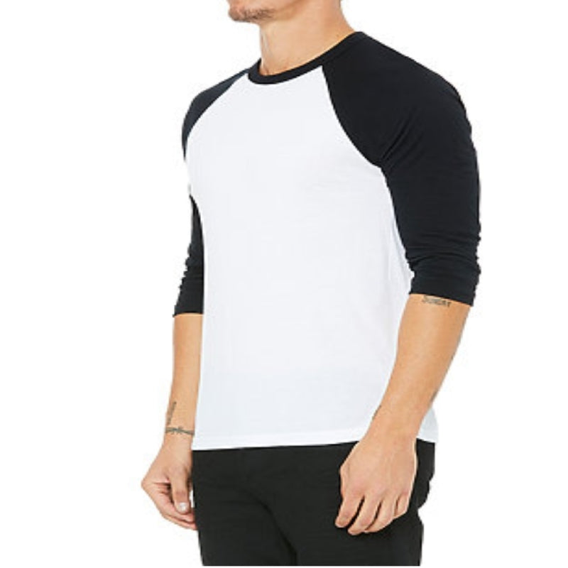 Unisex 3/4 Sleeve Baseball Tee - White & Black