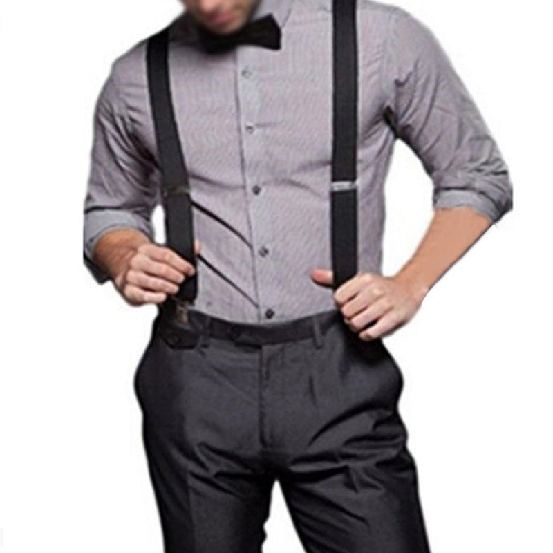 Elastic Y-Shape Braces/ Suspenders Dark Grey