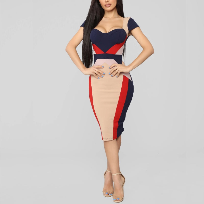 Colourblock Midi Dress Navy
