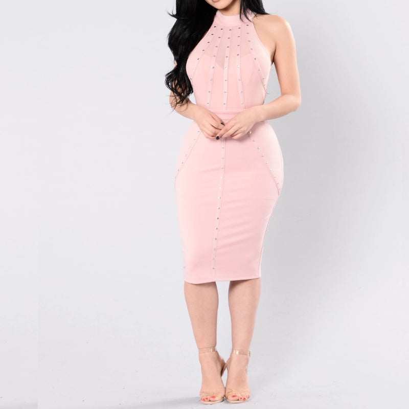 Grommet Fitted Dress Mauve