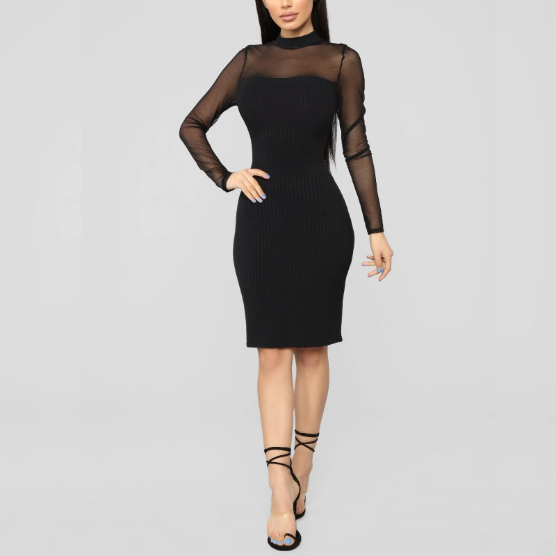Ribbed Midi Mesh Dress Black