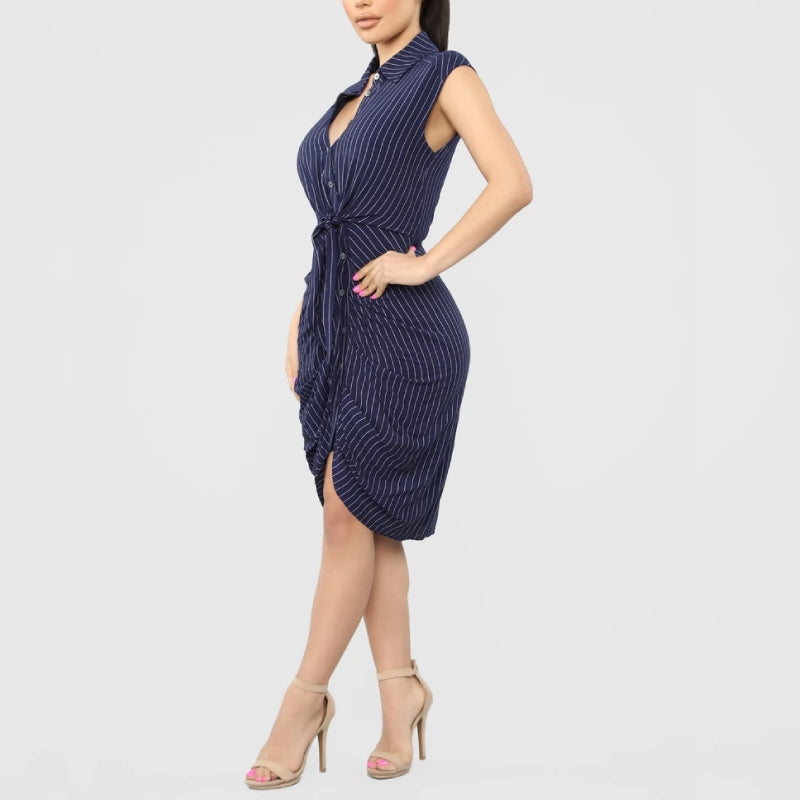 Stripe Ruched Shirt Dress Navy