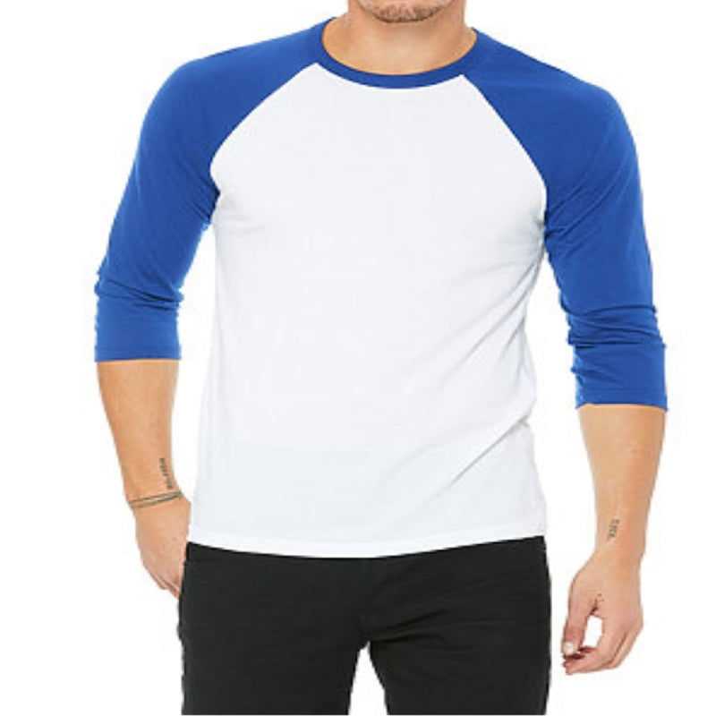 Unisex 3/4 Sleeve Baseball Tee - White & Blue