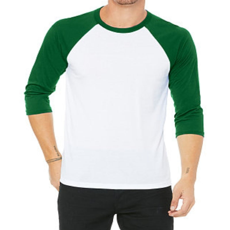 Unisex 3/4 Sleeve Baseball Tee - White & Green
