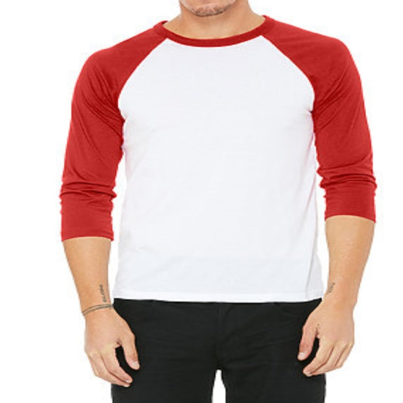 Unisex 3/4 Sleeve Baseball Tee - White & Red