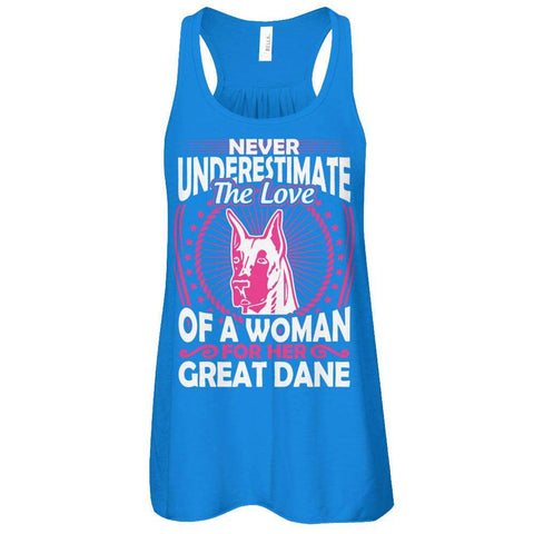 Never Underestimate The Love Of A Woman For Her Great Dane Flowy Racerback Tank - Apparel
