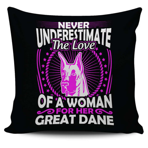 Never Underestimate The Love Of A Woman For Her Great Dane Pillow Cover - Pillow Cover