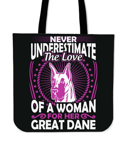 Never Underestimate The Love Of A Woman For Her Great Dane Tote Bag - Bag