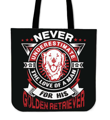 Never Underestimate The Love Of A Man For His Golden Retriever Tote Bag - Bag