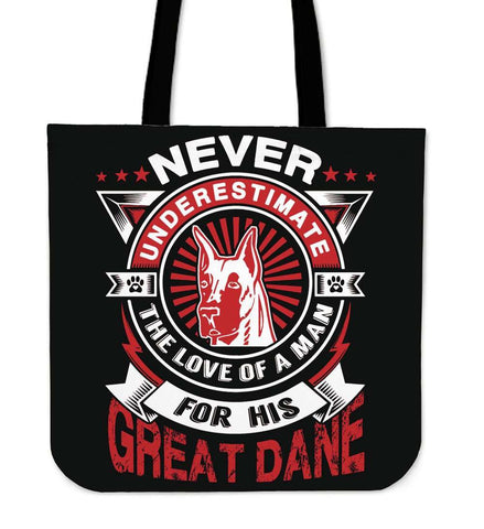 Never Underestimate The Love Of A Man For His Great Dane Tote Bag - Bag
