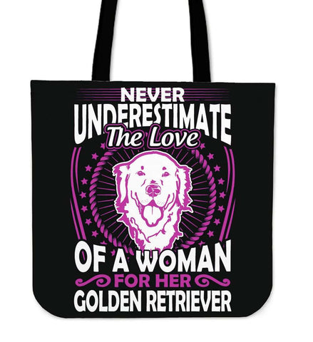 Never Underestimate The Love Of A Woman For Her Golden Retriever Tote Bag - Bag