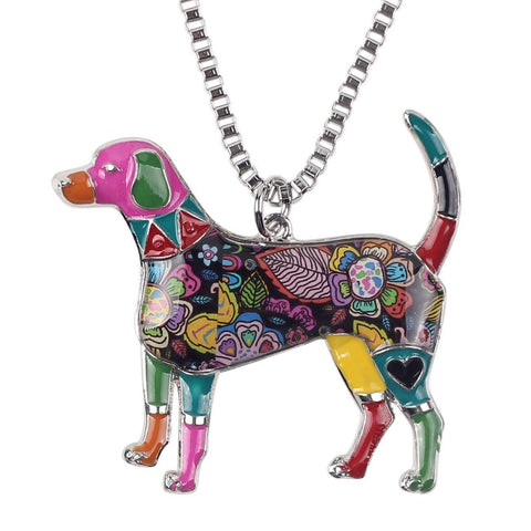 Beagle Exclusive Colorful Flora Pattern Necklace - Jewelry
