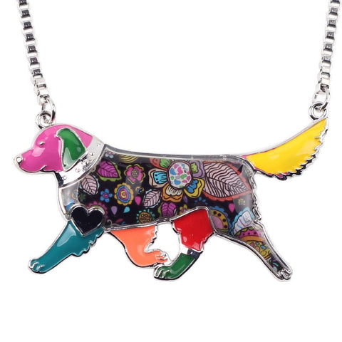 Golden Retriever Exclusive Colorful Flora Pattern Necklace - Jewelry